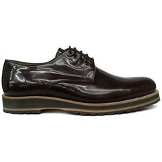 8393 zapato blucher liso en piel rectificada color marrón con piso de cuña de Pertini | Calzados Garrido