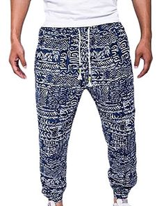 e2cdd7609dc7 Cruiize Mens Casual Printed Drawstring Linen Jogger Pants at Amazon Men s  Clothing store  Joggers