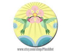 Hummingbird Blossom 1.25 Pinback Pin Button Badge by PlushBot