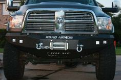 Road Armor 408R0B 2010-2018 Dodge Ram 2500/3500 Front Winch Ready Bumper No Guard, Black Finish and Square Fog Light Hole