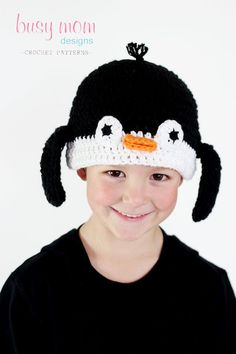 CROCHET Hat PATTERN - Penguin Beanie - ALL sizes included from preemies to adults - Easy - pdf. $3.95, via Etsy.