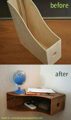 Magazine rack turned corner shelf - put two with long sides together for a straight wall shelf.