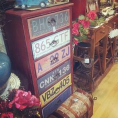 Licence plate drawers - saw these at Fleurs in Propsect