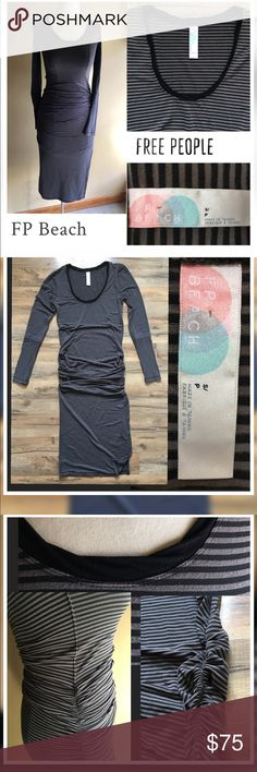 Free People FP Beach  Skinny Striped Sexy Dress. Free People FP Beach Long-sleeve Striped Dress..  Scoop neck / Sleeves have vertical stripes at cuffs/ Both sides of body is ruched/ with Slit on on side.. Sexy and comfortable.. Perfect layered with a Long vest or Cardigan with Tall Boots 👌🏼..Color Black/Taupe Striped Excellent Condition ✨Size-S Free People Dresses
