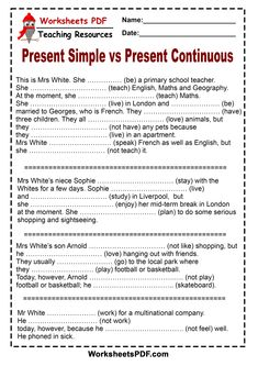 Present Simple VS Present Continuous 1 English Grammar Exercises, Teaching English Grammar, Grammar Lessons, English Vocabulary, Grammar Rules, Teaching Spanish, Teaching Math, Teaching Resources, Simple Present Tense Worksheets