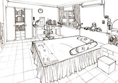 Kitchen perspective drawing one point perspective for Bedroom 2 point perspective