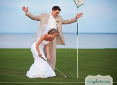 Bride and Groom golfing on their wedding day.  See more golf themed wedding favors and party ideas at www.one-stop-party-ideas.com