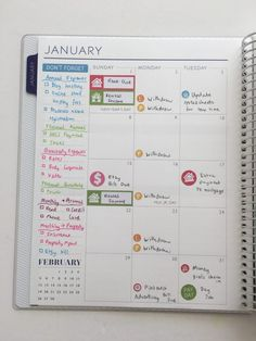how to setup your planner a new planning color coding stickers pens icon reminder bill due payment savings payday inspiration bujo layout spread-min