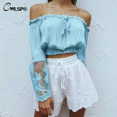 Cheap lace blouse, Buy Quality lace up blouse directly from China blouse off Suppliers: RlmaBaby Blue Chiffon Off Shoulder Flare Sleeve Femme Lace Blouse Summer Sexy Beach Party Lace Up Blusas Women Tops Blouses Blusas Crop Top, Crop Top Shirts, Crop Tops, Crop Blouse, Blue Blouse, Tank Tops, Kimono Shirt, Sexy Blouse, Peasant Blouse