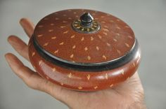 1930's Old Wooden Disc Shape Lacquer Handpainted Powder Box , Collectible
