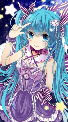 ✮ ANIME ART ✮ clothes. . .cute fashion. . .Hatsune Miku. . .dress. .. ruffles. . .ribbons. . .lace. . .clock face. . .choker. . .necklace. . .hair ribbons. . .hair decoration. . .long hair. . .cute. . .kawaii