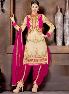 http://www.sareesaga.in/index.php?route=product/product&product_id=16161 Work:Resham Work Lace Style:Patiala Suit Shipping Time:10 to 12 Days Occasion:Party Wedding Reception Fabric:Georgette Colour:Cream Hot Pink For Inquiry Or Any Query Related To Product,  Contact :- +91 9825192886
