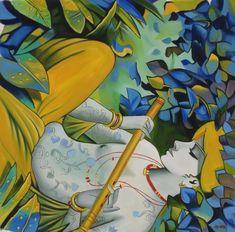 Krishna Art Handmade Indian Hindu Deity Portrait Oil on Canvas Decor Painting