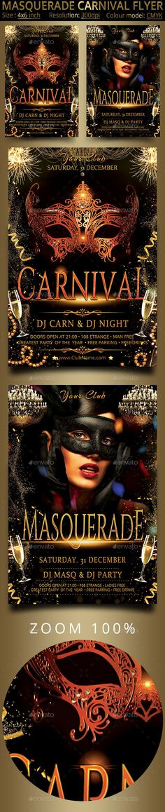 Carnival Masquerade Party Flyer - Events Flyers Download here: https://graphicriver.net/item/carnival-masquerade-party-flyer/13902228?ref=alena994