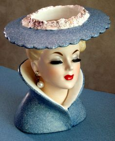 Vintage 1959 Napco Beautiful Lady Headvase Pearls Large Hat Japan Pottery | eBay