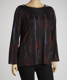 Black Abstract Top - Plus
