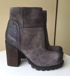 a458e9bf39496f  160 NEW Sam Edelman Franklin Leather Ankle Boots GRAY - 7.5
