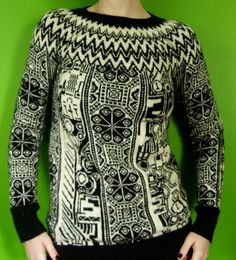 robot pixel mashup  fair isle sweater by elf518 on Etsy, $700.00