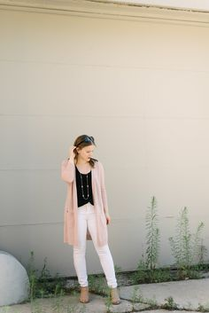 My Migraine Pain Relievers | Something Good, @Danaerinw , women's clothing, women's fashion, style, white denim, black tops, pink sweater, pink cardigan, spring outfit, ankle boots, peep toe booties