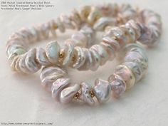 Pastel Stacked Belly Drilled Thick Keshi Petal Freshwater Pearls With Spacers Freshwater Pearl Longer Necklace