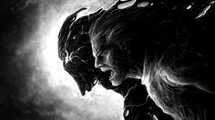 Dark kunst monster menschen profil monochrome schwarz weiß geknackt dark fantasy creatures 4 Größen Wohnkultur Leinwand-plakat-druck(China (Mainland))