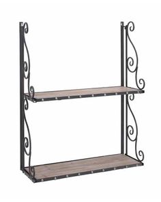 An ideal blend of aesthetic appeal and utility, this metal/wood wall shelf comes with an antique finish that offers a complete look to your contemporary decor. Carefully constructed with sturdy and durable metal with two wooden shelves attached. Wood Wall Shelf, Wall Mounted Shelves, Wooden Shelves, Display Shelves, Cabinet Shelving, Lane Furniture, How To Antique Wood, Cool Walls, Contemporary Decor
