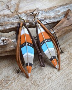 Feather earrings Southwestern jewelry Long earrings Native American jewelry Boho earrings Boho jewelry Polymer clay jewelry for women Gift