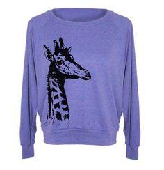 Womens Sweatshirt GIRAFFE Tri-Blend Pullover - American Apparel - S M L (8 Color Options) on Etsy, $28.00