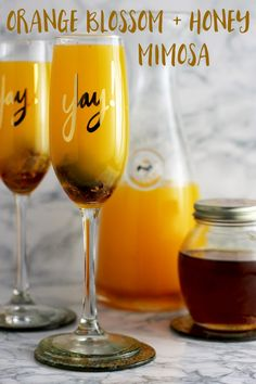 This orange blossom and honey mimosa recipe is brunch perfection! It's an easy to make cocktail recipe, and looks amazing in a glass. #donvictorhoney AD