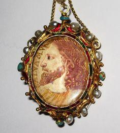 Rare Agnus Dei pendant rock crystal gold enamel frame.