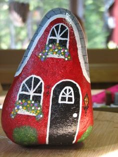 Little red house painted rock