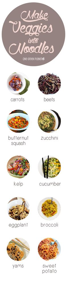 Veggie Noodle Ideas #lowcarb #healthy #pasta