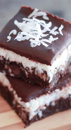 Chocolate Coconut Brownies ~ Three layers of decadence... fudgy brownies topped with creamy coconut and finished with a smooth chocolate ganache
