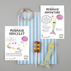 Mermaid / Under the Sea party bags. A perfect party bag gift. Make a Mermaid Bracelet and Go on a Mermaid Adventure peg doll craft activities.