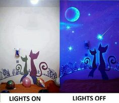 Do you want to make an amazing decor for kids room? These glow in the dark wall murals are great ideas for you. You can paint the murals directly on the wall, or use a pencil to outline the murals first and then fill in the blanks with paint. Deco Time, My New Room, Cozy House, Wall Murals, Wall Art, The Darkest, Bedroom Decor, Kids Bedroom, Wall Decor