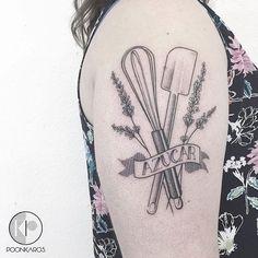 Fine line tattoo of chef tools by Karry Ka-Ying Poon. #KarryKaYingPoon #Poonkaros #fineline #blackandgrey #pointillism #chef #linework