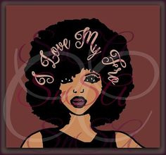 SVG Love Fro Afro Diva Natural Curly Hair by SHAREnShareALIKE