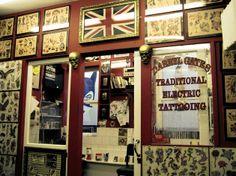 Diamond Jacks tattoo studio, Soho, London The longest running tattoo parlour in London's West End. London Tattoo, Tattoo Shops In London, Jack Tattoo, London Tips, Best Tattoo Shops, Best Gifts For Him, Tattoo Parlors, London Calling, Best Sites