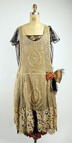 Evening dress - Boué Soeurs  (French) Date: 1920–25 Medium: cotton, linen, silk, metallic thread The Metropolitan Museum of Art