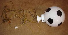 RARE Glass Soccer Ball Football Light Globe Swag Shade Fixture Lamp Swag Chain