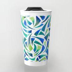 Sea Glass Travel Mug #seaglass #art #green #ocean #abstract #artist #design #pattern #society6 #travelmug #travel