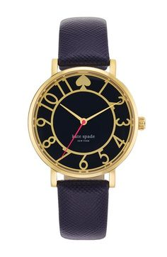 Free shipping and returns on kate spade new york 'metro' round Saffiano leather strap watch, 34mm at Nordstrom.com. Clean numbered indexes mark the dial of a feminine round watch fitted with a scratch-resistant Saffiano leather strap.