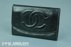 Authentic CHANEL Black Lambskin Leather Bifold Coin Purse Wallet #CHANEL #CoinPurseWallet