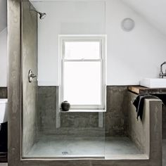 open, airy cement shower.