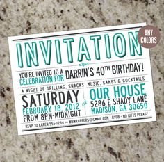 I like vintage style of this invitation with only typos. Typography Invitation, Invitation Design, Shower Invitation, Custom Invitations, Birthday Invitations, 30th Birthday Parties, Birthday Ideas, 50th Party, Game Cocktail