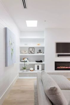 Trendy living room designs on a budget furniture 70 ideas Living Room Decor On A Budget, Living Room White, Living Room Remodel, Living Room With Fireplace, New Living Room, White Rooms, Tv With Fireplace, Tv On Wall Ideas Living Room, Living Room Shelving