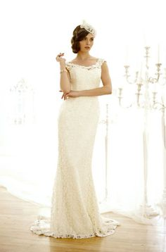 A favourite silhouette. Vintage Lace. Very classy. Check out London Bridal shops Sophies Gown Shoppe David's Bridal Garbers  Ballets Nicholas and Elizabeth!