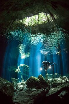 Ripples & Rays by Jennifer Penner on ~ Scuba diving and underwater photography go hand-in-hand in the cenotes of the Yucatan Peninsula of Mexico. Underwater Caves, Underwater Photos, Underwater Photography, Underwater Life, Film Photography, White Photography, Street Photography, Landscape Photography, Nature Photography