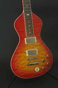 Asher Ben Harper Signature Model Lap Steel Guitar with flame maple top and cherry burst nitro lacquer