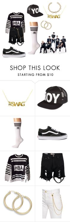 """""""BTS - No More Dream"""" by lexikth ❤ liked on Polyvore featuring BOY London, adidas, Vans, Boohoo and Pierre Balmain"""